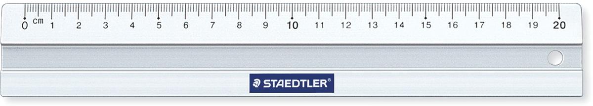 Staedtler Линейка цвет прозрачный 20 см56320Линейка алюминиевая Mars, длина 20 см. Со скошенными краями для предотвращения смазывания и растекания чернил. Нескользящая, в индивидуальной прозрачной упаковке с подвесом.
