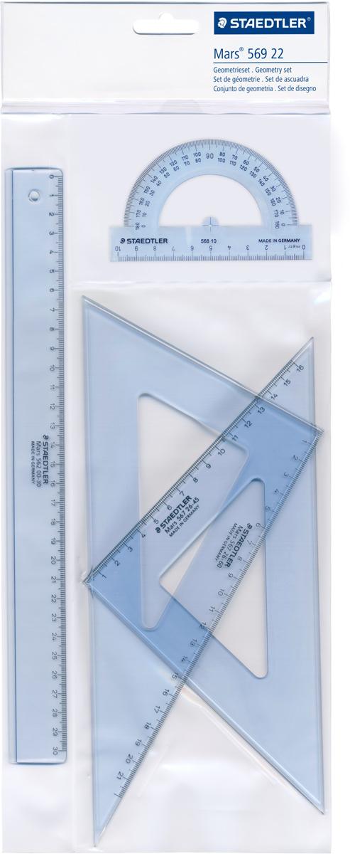 Staedtler Геометрический набор цвет прозрачный 4 предмета 5692256922Набор для геометрии, 4 предмета: линейка 30 см, транспортир, 2 треугольника на 45° и 60°. Прозрачный цвет, в блистерной упаковке.