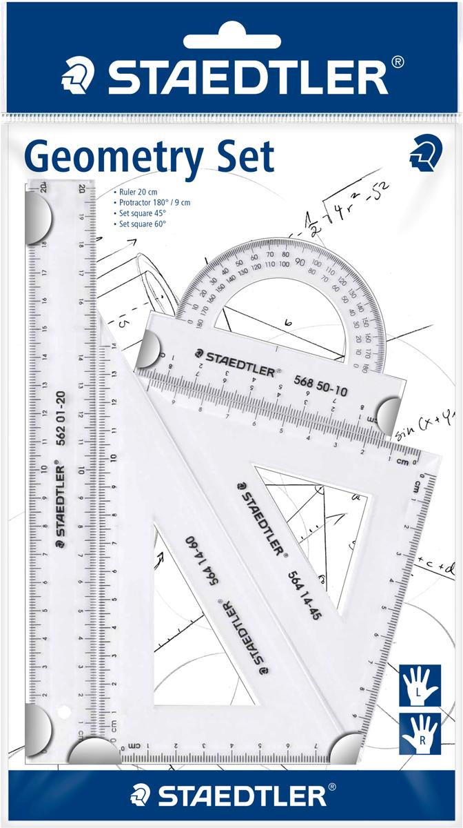 Staedtler Геометрический набор цвет прозрачный 4 предмета569PB4-0Набор для геометрии содержит 4 предмета со шкалами для левшей и правшей: линейка 20 см, транспортир, 2 треугольника на 45° и 60°.