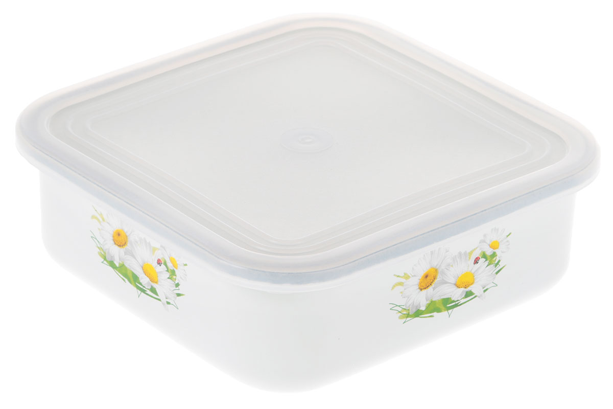 Блюдо для холодца Эмаль Ромашка, с крышкой, цвет: белый, 1 л01-2507п/4_белый, ромашкиСервировочное блюдо Эмаль, изготовленное из высококачественной эмалированной стали, прекрасно подойдет для заливного или холодца и для хранения слоеных салатов. Пластиковая крышка, входящая в комплект, сохранит свежесть вашего блюда. Такое блюдо украсит сервировку вашего стола и подчеркнет прекрасный вкус хозяйки.Не использовать в микроволновой печи.