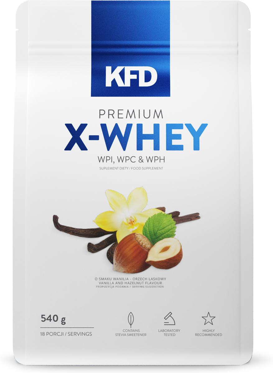 Протеин KFD Premium X-Whey, кокосовый трюфель, 540 г5901947663431KFD Premium X-Whey - качественный продукт, в основе которого лежат три типа известных сывороточных белков. Это изолят белка WPI,концентрат белка WPC и гидролизат белка WPH. Всего в смеси около 85% этого вещества.Комплекс включает в себя: 90 WPI (изолят сывороточного белка) WPC 80 (концентрат сывороточного белка) и WPH (гидролизат сывороточного белка). Все они отличносмешиваются без пенообразования на поверхности шейкера.Процентное распределение фракций: 90 WPI (изолят белка молочной сыворотки) - 65% WPC 80 (концентрат сывороточного белка), - 25% WPH (сывороточный белковый гидролизат) - 10%Основные преимущества:- приятный привкус;- хорошая растворимость;- без образования пенки;- отсутствие красителей и консервантов.Даже самые придирчивые гурманы смогут по достоинству оценить прекрасный вкус протеина из серии KFD.Условия хранения:Лучше пересыпать порошок в герметичную баночку и положить ее в сухое и вентилируемое место, недоступное животным и детям. При этом вкомнате должна быть нормальная комнатная температура. Не рекомендуется употреблять:подросткам младше 14 лет; беременным и кормящим; страдающим заболеваниями печени и почек; при общей непереносимости лактозы икоровьего молока. Стоит учитывать, что в спортивном питании содержатся подсластители.Другие ингредиенты: Изолят сывороточного белка, концентрат сывороточного белка, гидролизат сывороточного белка, какао, ароматизатор,регулятор кислотности: лимонная кислота, соль, подсластители: сукралоза, стевиол-гликозиды.Способ применения: Одну порцию (30 г) смешать с 200-250 мл молока или воды. Употреблять сразу после приготовления согласноиндивидуальным нормам, но не более двух раз в день.Как повысить эффективность тренировок с помощьюспортивного питания? Статья OZON Гид