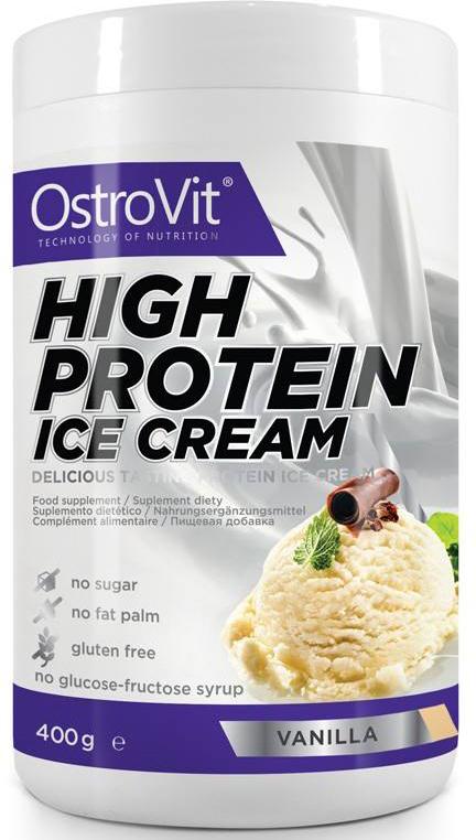 """OstroVit """"High Protein Ice Cream"""" - это продукт в виде порошка мороженого с высоким  содержанием белка, без добавления сахара. Это низкокалорийный и вкусный десерт,  который можно употреблять без всяких ограничений. Основу порошка мороженого  составляет молочный и сывороточный белок. Белок молочной сыворотки способствует  интенсивному росту мышц и восстановлению мышечных волокон. Он также обладает  анаболическим и антикатаболитическим эффектом: предотвращает распад мышечной  ткани. Помимо этого, уменьшает усталость и ускоряет восстановление мышц после  тренировки. Изомальтулоза, входящая в состав продукта, это сахар с низким  гликемическим индексом, благодаря чему в крови не происходит резкого увеличения  уровня глюкозы, и, таким образом, это не приводит к излишнему увеличению жировой  ткани. OstroVit """"High Protein Ice Cream"""" это продукт, предназначенный, главным  образом, для физически активных людей, которые заботятся о своей фигуре или  соблюдают диету. Этот сладкий десерт идеальный вариант для вас, если очень захочется  чего-нибудь сладкого. Способ приготовления 2 порций: 100 г (6,5 мерных ложек) порошка размешать при  помощи миксера в 200 мл воды. Мешать до образования однородной массы консистенции  густой сметаны. Поставить в морозильную камеру примерно на 2,5 часа. Достать из  морозильной камеры полузамороженную массу и тщательно перемешать. Снова поставить  в морозильную камеру примерно на 40 минут, после чего продукт готов к употреблению.  Чтобы достичь наилучших вкусовых качеств, не следует подвергать продукт глубокой  заморозке. Рекомендуемая суточная порция - 50 г.    Как  повысить эффективность тренировок с помощью спортивного питания? Статья OZON Гид"""