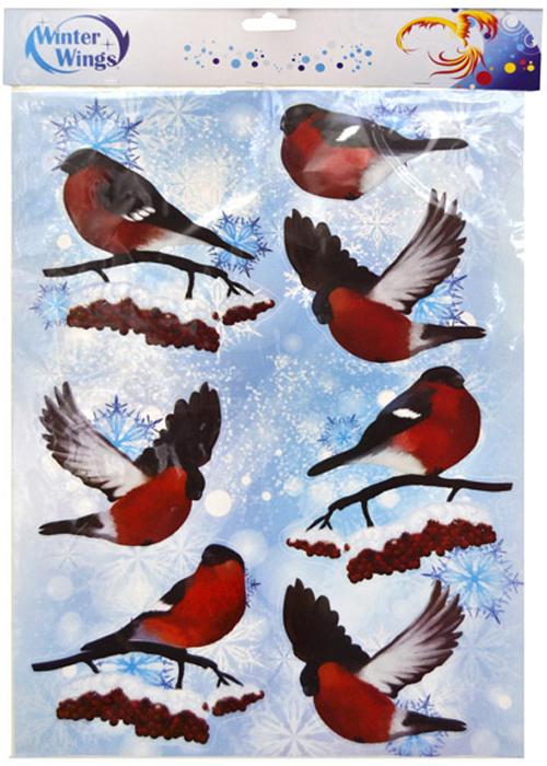Наклейка декоративная Winter Wings Снегири, 29,5 х 40 смN09250Наклейка панно СНЕГИРИ, 29,5*40 см, ПВХ