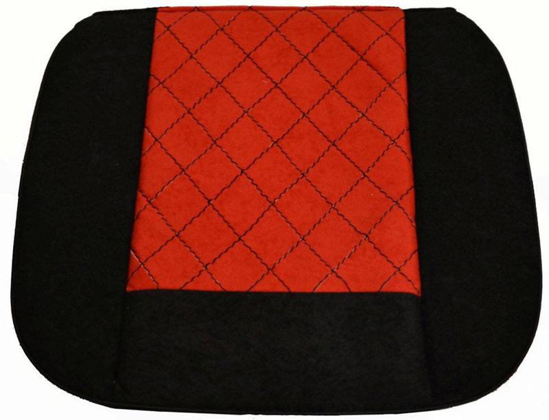 Накида автомобильная Auto Premium, на горизонтальную часть сидения, цвет: красный, черный, 50 х 51 см. 4702147021Накидка на нижнюю часть сиденья выполнена из высококачественного велюра класса люкс. Накидка имеет 4 точки крепления на сиденья, поэтому держится крепко и никуда не съедет. Универсальная накидка на передние сиденья.