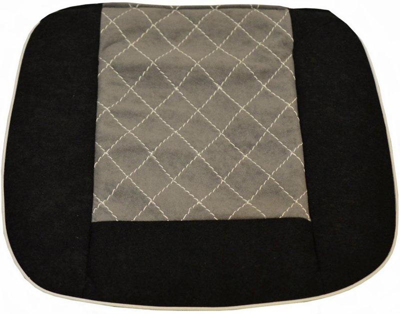 Накида автомобильная Auto Premium, на горизонтальную часть сидения, цвет: серый, черный, 50 х 51 см. 4702347023Накидка на нижнюю часть сиденья выполнена из высококачественного велюра класса люкс. Накидка имеет 4 точки крепления на сиденья, поэтому держится крепко и никуда не съедет. Универсальная накидка на передние сиденья.