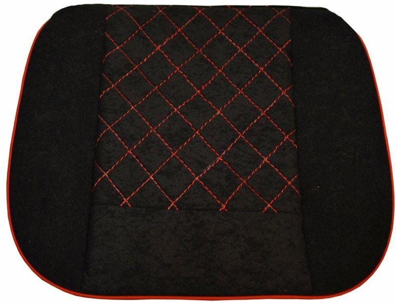 Накида автомобильная Auto Premium, на горизонтальную часть сидения, цвет: красный, черный, 50 х 51 см. 4702547025Накидка на нижнюю часть сиденья выполнена из высококачественного велюра класса люкс. Накидка имеет 4 точки крепления на сиденья, поэтому держится крепко и никуда не съедет. Универсальная накидка на передние сиденья. Красная отстрочка придает изделию уникальность.