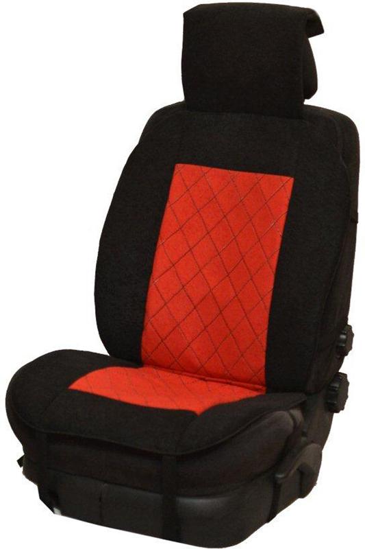 Накидка автомобильная Auto Premium, на полное сидение, цвет: красный, черный, 150 х 53 см. 4720147201Универсальная накидка на передние сиденья. Стильное и практичное решение для салона автомобиля. Благодаря специальным ремням накидка идеально устанавливается на любом типе сидений. Материал - высококачественный велюр класса люкс.