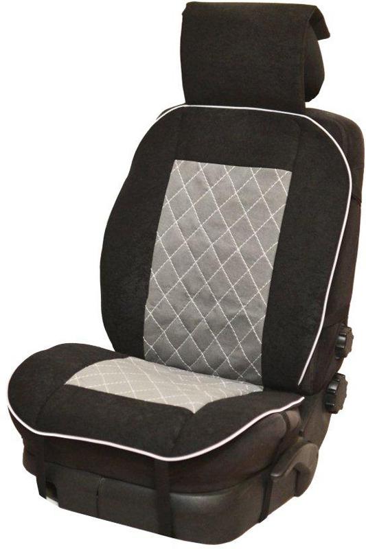 """Накидка автомобильная """"Auto Premium"""", на полное сидение, цвет: серый, черный, 150 х 53 см. 47203"""