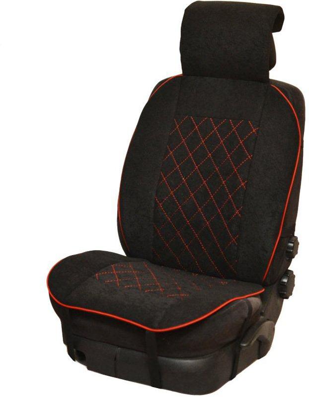Накидка автомобильная Auto Premium, на полное сидение, цвет: красный, черный, 150 х 53 см. 4720547205Универсальная накидка на передние сиденья. Стильное и практичное решение для салона автомобиля. Благодаря специальным ремням накидка идеально устанавливается на любом типе сидений. Материал - высококачественный велюр класса люкс. . Красная отстрочка придает изделию уникальность.