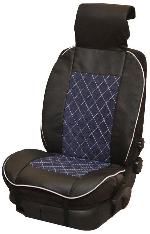 Накидка автомобильная Auto Premium, на полное сидение, цвет: синий, черный, 150 х 53 см. 4750247502Универсальная накидка на передние сиденья. Стильное и практичное решение для салона автомобиля. Благодаря специальным ремням накидка идеально устанавливается на любом типе сидений. Материал - высококачественный велюр класса люкс. По краям вставки из износостойкой экокожи , благодаря чему внешние края изделия прослужат дольше.