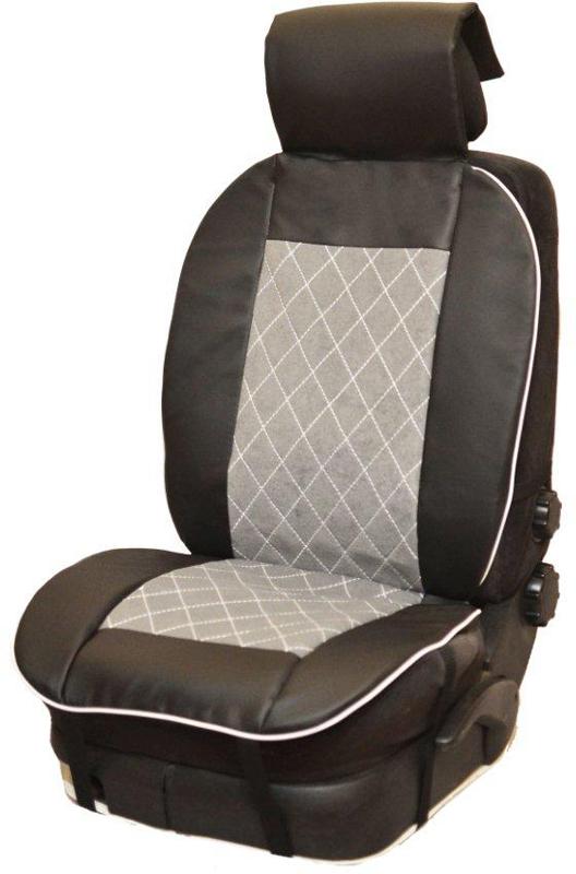 Накидка автомобильная Auto Premium, на полное сидение, цвет: серый, черный, 150 х 53 см. 4750347503Универсальная накидка на передние сиденья. Стильное и практичное решение для салона автомобиля. Благодаря специальным ремням накидка идеально устанавливается на любом типе сидений. Материал - высококачественный велюр класса люкс. По краям вставки из износостойкой экокожи , благодаря чему внешние края изделия прослужат дольше.