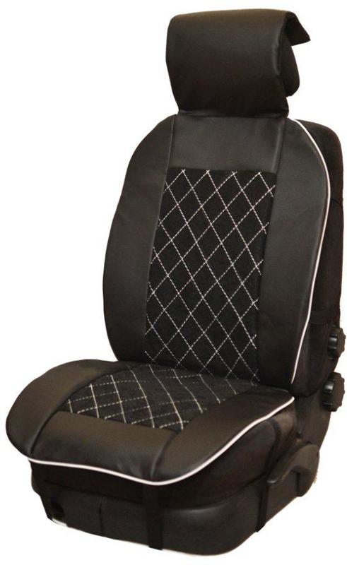 Накидка автомобильная Auto Premium, на полное сидение, цвет: белый, черный, 150 х 53 см. 4750447504Универсальная накидка на передние сиденья. Стильное и практичное решение для салона автомобиля. Благодаря специальным ремням накидка идеально устанавливается на любом типе сидений. Материал - высококачественный велюр класса люкс. По краям вставки из износостойкой экокожи , благодаря чему внешние края изделия прослужат дольше. Белая отстрочка придает изделию уникальность.