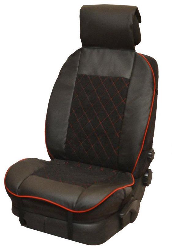 Накидка автомобильная Auto Premium, на полное сидение, цвет: красный, черный, 150 х 53 см. 4750547505Универсальная накидка на передние сиденья. Стильное и практичное решение для салона автомобиля. Благодаря специальным ремням накидка идеально устанавливается на любом типе сидений. Материал - высококачественный велюр класса люкс. По краям вставки из износостойкой экокожи , благодаря чему внешние края изделия прослужат дольше. Красная отстрочка придает изделию уникальность.