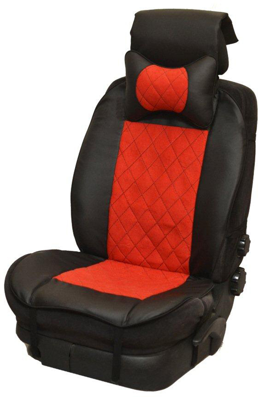 """Накидка автомобильная """"Auto Premium"""", на полное сидение, цвет: красный, черный, 150 х 53 см. 47401"""