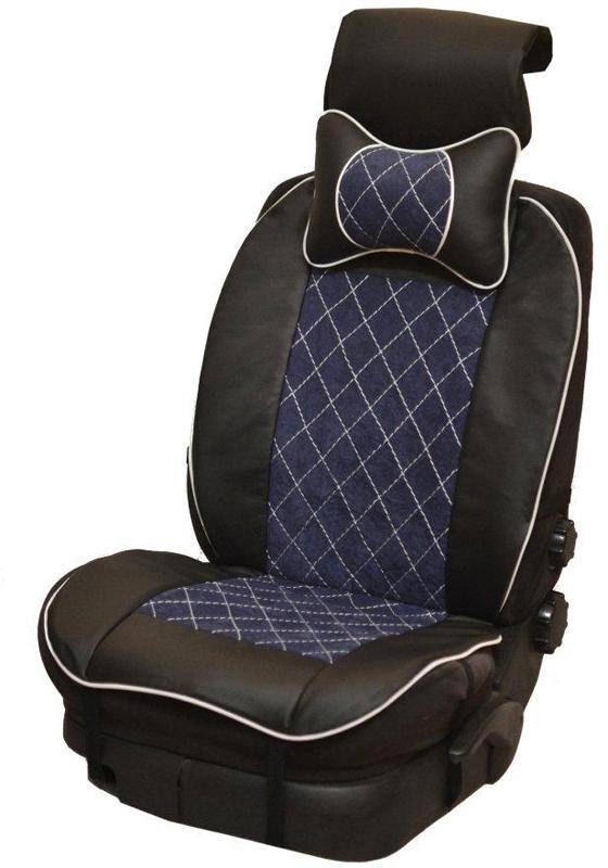 Накидка автомобильная Auto Premium, на полное сидение, цвет: синий, черный, 150 х 53 см. 4740247402Универсальная накидка на передние сиденья. Стильное и практичное решение для салона автомобиля. Благодаря специальным ремням накидка идеально устанавливается на любом типе сидений. Материал - высококачественный велюр класса люкс. По краям вставки из износостойкой экокожи , благодаря чему внешние края изделия прослужат дольше. В комплект входит подушка на подголовник. Большинство штатных подголовников устроены так, что до них попросту не дотянуться. Данный аксессуар полностью решает эту проблему, создавая мягкую ортопедическою поддержку. Подушка на подголовник - это прежде всего лучший способ создать комфорт для шеи и головы во время пребывания в автомобильном кресле.