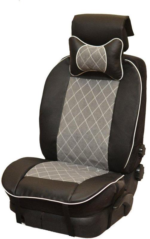 Накидка автомобильная Auto Premium, на полное сидение, цвет: серый, черный, 150 х 53 см. 4740347403Универсальная накидка на передние сиденья. Стильное и практичное решение для салона автомобиля. Благодаря специальным ремням накидка идеально устанавливается на любом типе сидений. Материал - высококачественный велюр класса люкс. По краям вставки из износостойкой экокожи , благодаря чему внешние края изделия прослужат дольше. В комплект входит подушка на подголовник. Большинство штатных подголовников устроены так, что до них попросту не дотянуться. Данный аксессуар полностью решает эту проблему, создавая мягкую ортопедическою поддержку. Подушка на подголовник - это прежде всего лучший способ создать комфорт для шеи и головы во время пребывания в автомобильном кресле.