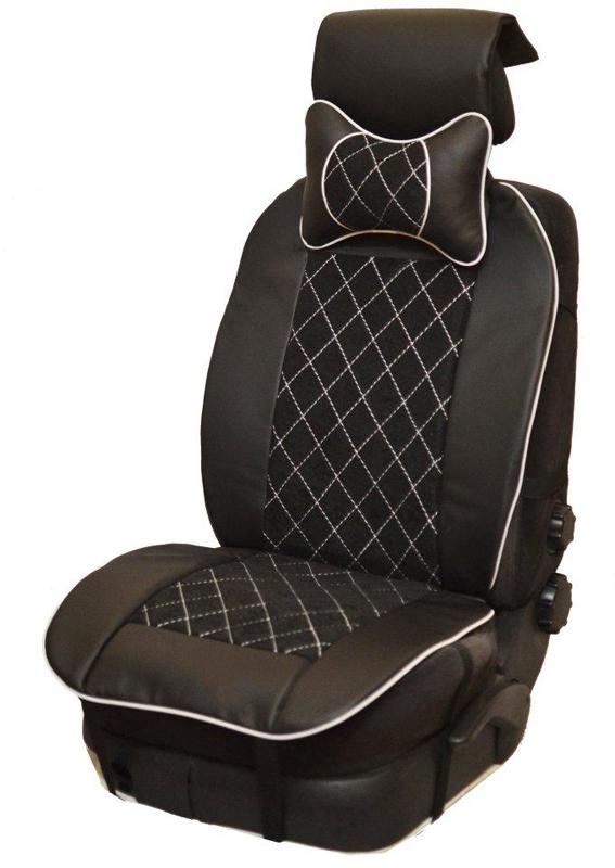 Накидка автомобильная Auto Premium, на полное сидение, цвет: белый, черный, 150 х 53 см. 4740447404Универсальная накидка на передние сиденья. Стильное и практичное решение для салона автомобиля. Благодаря специальным ремням накидка идеально устанавливается на любом типе сидений. Материал - высококачественный велюр класса люкс. По краям вставки из износостойкой экокожи , благодаря чему внешние края изделия прослужат дольше. Белая отстрочка придает изделию уникальность. В комплект входит подушка на подголовник. Большинство штатных подголовников устроены так, что до них попросту не дотянуться. Данный аксессуар полностью решает эту проблему, создавая мягкую ортопедическою поддержку. Подушка на подголовник - это прежде всего лучший способ создать комфорт для шеи и головы во время пребывания в автомобильном кресле.