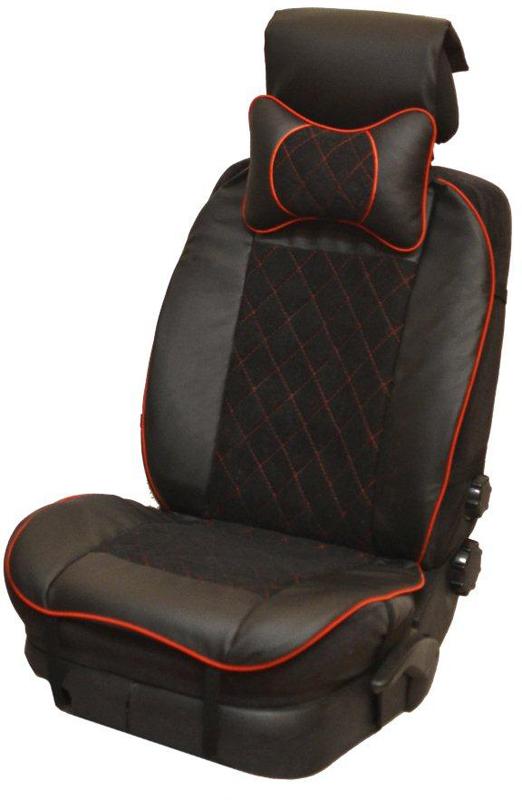 Накидка автомобильная Auto Premium, на полное сидение, цвет: красный, черный, 150 х 53 см. 4740547405Универсальная накидка на передние сиденья. Стильное и практичное решение для салона автомобиля. Благодаря специальным ремням накидка идеально устанавливается на любом типе сидений. Материал - высококачественный велюр класса люкс. По краям вставки из износостойкой экокожи , благодаря чему внешние края изделия прослужат дольше. Красная отстрочка придает изделию уникальность. В комплект входит подушка на подголовник. Большинство штатных подголовников устроены так, что до них попросту не дотянуться. Данный аксессуар полностью решает эту проблему, создавая мягкую ортопедическою поддержку. Подушка на подголовник - это прежде всего лучший способ создать комфорт для шеи и головы во время пребывания в автомобильном кресле.