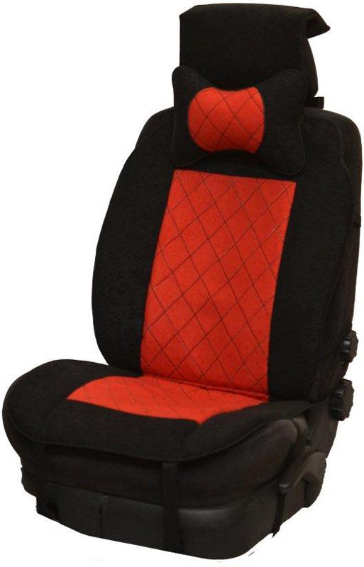 Накидка автомобильная Auto Premium, на полное сидение, цвет: красный, черный, 150 х 53 см. 4741147411Универсальная накидка на передние сиденья. Стильное и практичное решение для салона автомобиля. Благодаря специальным ремням накидка идеально устанавливается на любом типе сидений. Материал - высококачественный велюр класса люкс. В комплект входит подушка на подголовник. Большинство штатных подголовников устроены так, что до них попросту не дотянуться. Данный аксессуар полностью решает эту проблему, создавая мягкую ортопедическою поддержку. Подушка на подголовник - это прежде всего лучший способ создать комфорт для шеи и головы во время пребывания в автомобильном кресле.