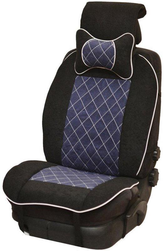 Накидка автомобильная Auto Premium, на полное сидение, цвет: синий, черный, 150 х 53 см. 4741247412Универсальная накидка на передние сиденья. Стильное и практичное решение для салона автомобиля. Благодаря специальным ремням накидка идеально устанавливается на любом типе сидений. Материал - высококачественный велюр класса люкс. В комплект входит подушка на подголовник. Большинство штатных подголовников устроены так, что до них попросту не дотянуться. Данный аксессуар полностью решает эту проблему, создавая мягкую ортопедическою поддержку. Подушка на подголовник - это прежде всего лучший способ создать комфорт для шеи и головы во время пребывания в автомобильном кресле.