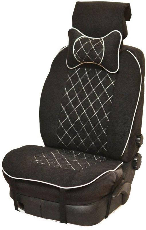 Накидка автомобильная Auto Premium, на полное сидение, цвет: красный, черный, 150 х 53 см. 4741447414Универсальная накидка на передние сиденья. Стильное и практичное решение для салона автомобиля. Благодаря специальным ремням накидка идеально устанавливается на любом типе сидений. Материал - высококачественный велюр класса люкс. Белая отстрочка придает изделию уникальность. В комплект входит подушка на подголовник. Большинство штатных подголовников устроены так, что до них попросту не дотянуться. Данный аксессуар полностью решает эту проблему, создавая мягкую ортопедическою поддержку. Подушка на подголовник - это прежде всего лучший способ создать комфорт для шеи и головы во время пребывания в автомобильном кресле.