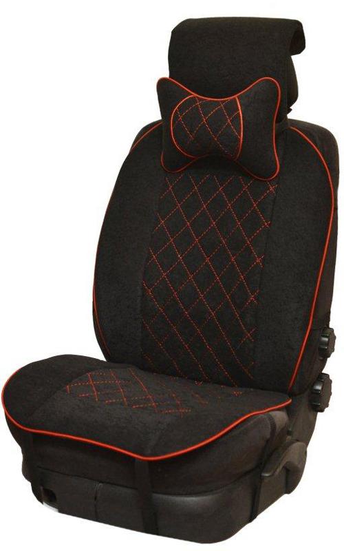 Накидка автомобильная Auto Premium, на полное сидение, цвет: красный, черный, 150 х 53 см. 4741547415Универсальная накидка на передние сиденья. Стильное и практичное решение для салона автомобиля. Благодаря специальным ремням накидка идеально устанавливается на любом типе сидений. Материал - высококачественный велюр класса люкс. Красная отстрочка придает изделию уникальность. В комплект входит подушка на подголовник. Большинство штатных подголовников устроены так, что до них попросту не дотянуться. Данный аксессуар полностью решает эту проблему, создавая мягкую ортопедическою поддержку. Подушка на подголовник - это прежде всего лучший способ создать комфорт для шеи и головы во время пребывания в автомобильном кресле.