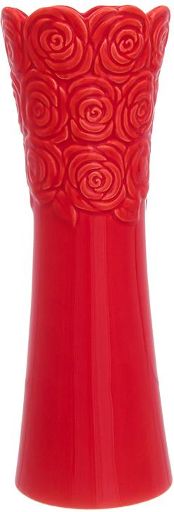 Ваза Elan Gallery Красная с розами, цвет: красный, высота 22 см, 0,43 л110945Ваза Elan Gallery Красная с розами выполнена из керамики. Декоративная ваза украсит ваш интерьер и будет прекрасным подарком для ваших близких. Оригинальный дизайн наполнит дом праздничным настроением.