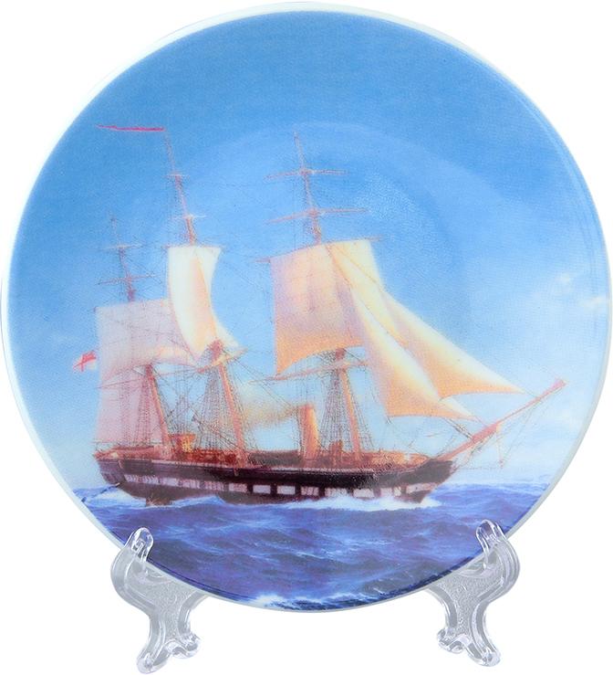 Тарелка декоративная Elan Gallery Фрегат, с подставкой, цвет: голубой, диаметр 10 см