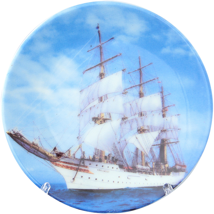 Тарелка декоративная Elan Gallery Корабль, с подставкой, цвет: голубой, диаметр 10 см180641Декоративная тарелка отлично смотрится в любом интерьере. Устанавливается на специальную подставку, которая входит в комплект. Диаметр 10 см.