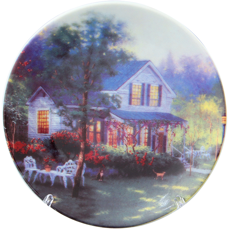 Тарелка декоративная Elan Gallery Усадьба, с подставкой, цвет: серый, диаметр 10 см