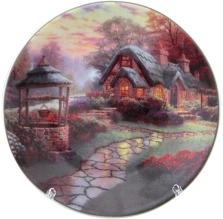 Тарелка декоративная Elan Gallery Домик в деревне, с подставкой, цвет: красно-коричневый, диаметр 10 см180643Декоративная тарелка отлично смотрится в любом интерьере. Устанавливается на специальную подставку, которая входит в комплект. Диаметр 10 см.