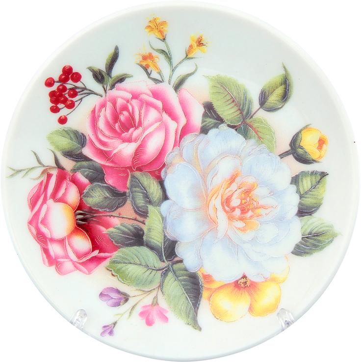 Тарелка декоративная Elan Gallery Букет с розами, с подставкой, цвет: розовый, диаметр 10 см