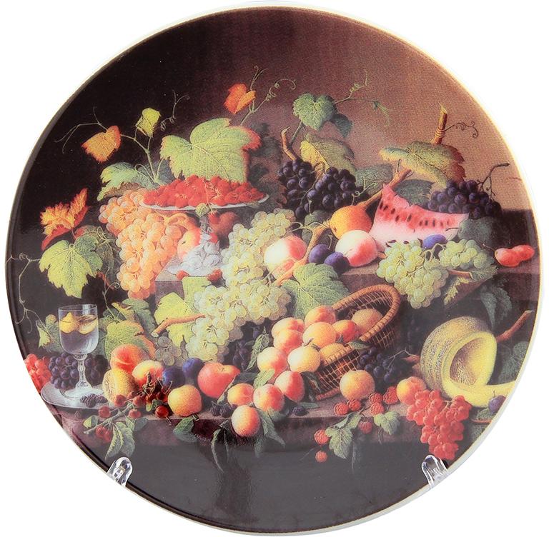 Тарелка декоративная Elan Gallery Натюрморт с фруктами, с подставкой, цвет: красно-коричневый, диаметр 10 см сувениры религиозные elan gallery тарелка декоративная пресвятая богородица владимирская