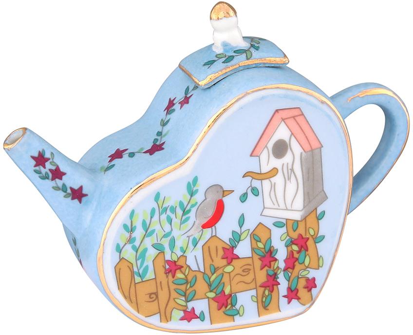 Чайник декоративный Elan Gallery Скворечник, цвет: голубой, 100 мл360040Сувениры - традиционное украшение нашего жилья. Декоративный чайник станет прекрасным дополнением к интерьеру вашей кухни, а так же приятным презентом на любой праздник.