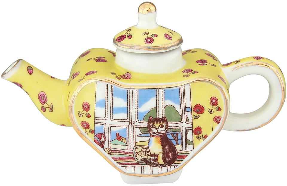 Чайник декоративный Elan Gallery Кошка у окошка, цвет: желтый, 100 мл сувениры