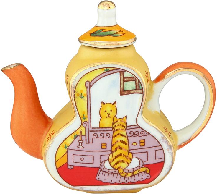 Чайник декоративный Elan Gallery Кошка у зеркала, цвет: желтый, 100 мл360051Сувениры - традиционное украшение нашего жилья. Декоративный чайник станет прекрасным дополнением к интерьеру вашей кухни, а так же приятным презентом на любой праздник.