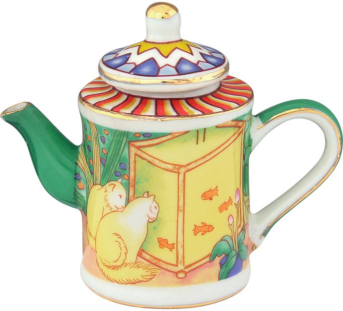 Чайник декоративный Elan Gallery Кошки у аквариума, цвет: желтый, 100 мл360052Сувениры - традиционное украшение нашего жилья. Декоративный чайник станет прекрасным дополнением к интерьеру вашей кухни, а так же приятным презентом на любой праздник.