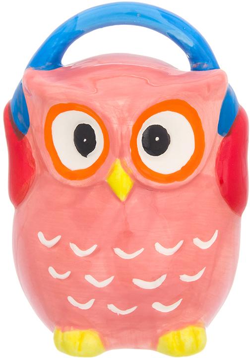 Копилка Elan Gallery Сова в наушниках, цвет: розовый, 9,3 х 8 х 12,5 см380083Символ мудрости и рациональности - птица, ставшая талисманом всех знатоков мира. Копилка, изображающая эту птицу, будет хорошим подарком всем, кому вы желаете тратить свои сбережения разумно.