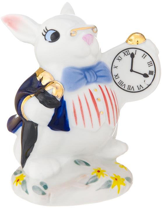 Фигурка декоративная Elan Gallery Кролик с часами, цвет: белый, 7 х 6,5 х 9 см фигурка декоративная elan gallery девочка балерина в розовом платье цвет розовый 6 х 7 8 х 7 см