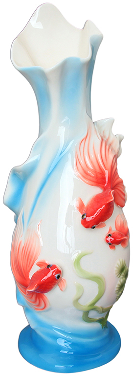 Ваза Elan Gallery Золотые рыбки, цвет: голубой, высота 30,5 см, 1,525 л400017Изящная ваза с лепниной в подарочной упаковке станет шикарным подарком и украшением Вашего интерьера. Внутри коробки шелковая подложка.