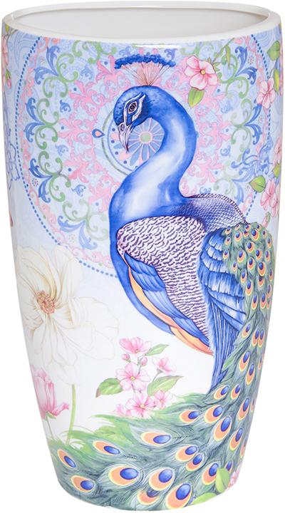 Ваза Elan Gallery Павлин в райском саду, цвет: голубой, высота 22,5 см, 1,5 л420133Прекрасный подарок, стильный предмет интерьера, красота и уют вашего дома. Изделие в подарочной упаковке.