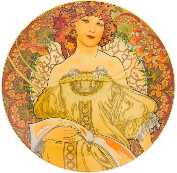 Тарелка декоративная Elan Gallery Мечтательность, с подставкой, цвет: золотистый, диаметр 20 см сувениры религиозные elan gallery тарелка декоративная пресвятая богородица владимирская