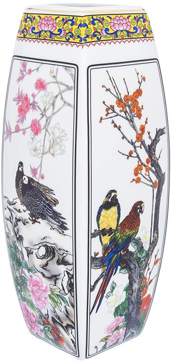 Ваза Elan Gallery Птицы в цветах, цвет: белый, высота 30 см, 3 л