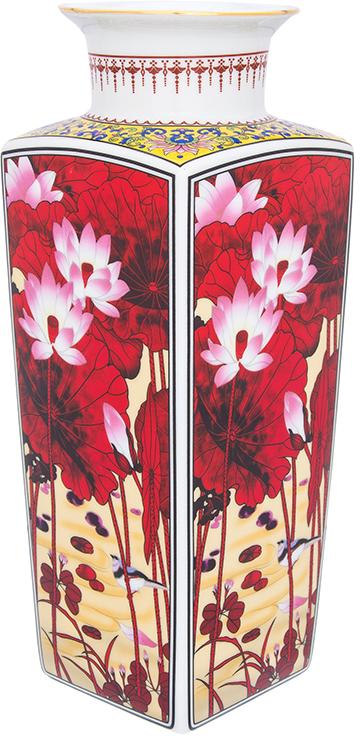 Ваза Elan Gallery Цветок лотоса, цвет: бордовый, высота 30 см, 2,6 л ваза elan gallery ирисы цвет белый высота 37 5 см 1 6 л