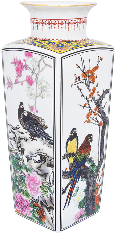 Ваза Elan Gallery Птицы в цветах, цвет: белый, высота 30 см, 2,6 л