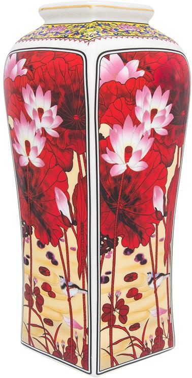 Ваза Elan Gallery Цветок лотоса, цвет: бордовый, высота 30 см, 3 л elan gallery