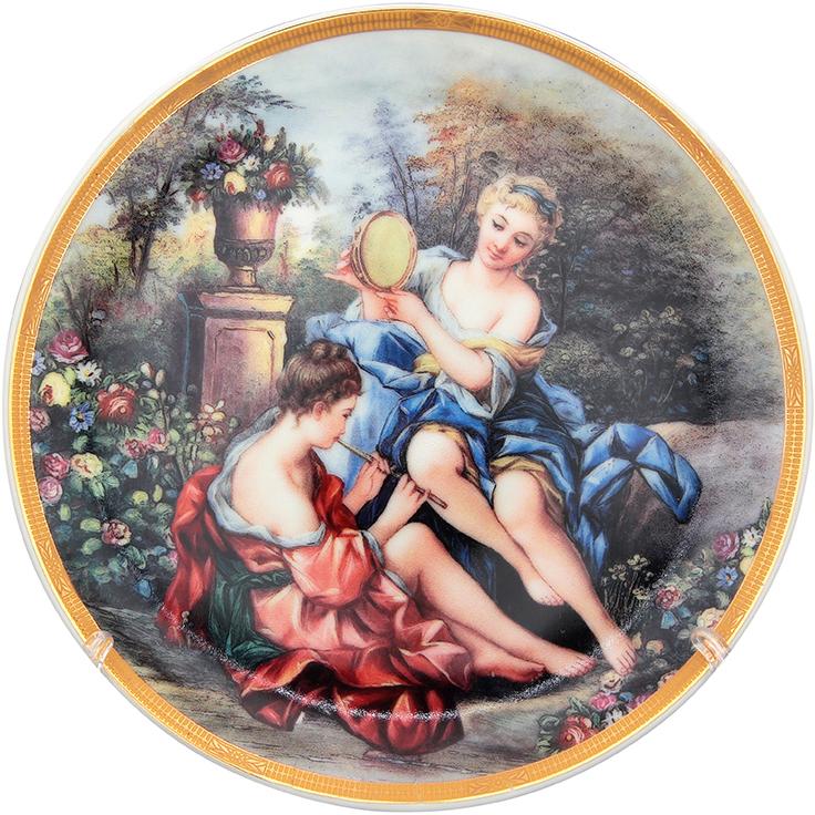Тарелка декоративная Elan Gallery Подруги в саду, с подставкой, цвет: зеленый, диаметр 18 см502772;502772Декоративная тарелка Elan Gallery Подруги в саду, изготовленная из фарфора, станет необыкновенным подарком и прекрасным украшением вашего интерьера.Тарелка оснащена петелькой для подвешивания, а также ее можно разместить на пластиковой подставке, которая входит в комплект.