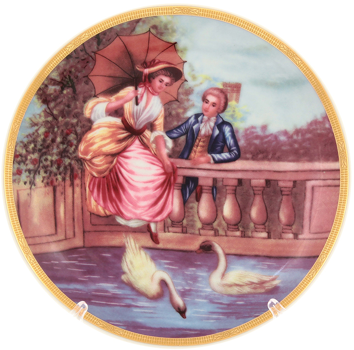 Тарелка декоративная Elan Gallery Влюбленные на мосту, цвет: розовый, диаметр 18 см502774Декоративная тарелка станет не только замечательным украшением в традиционном стиле, но и памятным подарком на любой праздник!