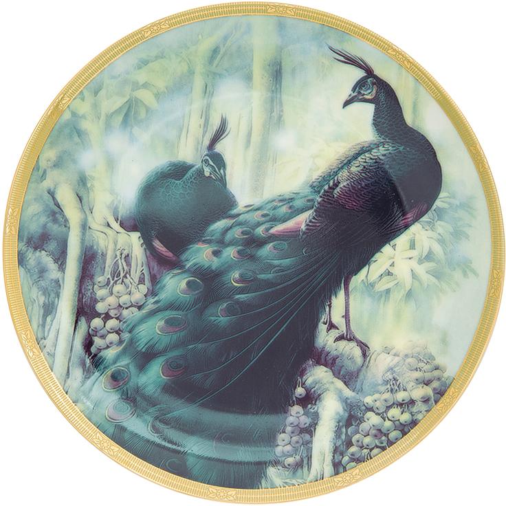 Тарелка декоративная Elan Gallery Жар-птица, с подставкой, цвет: зеленый, диаметр 18 см тарелка декоративная elan gallery розовая роза с белой птичкой