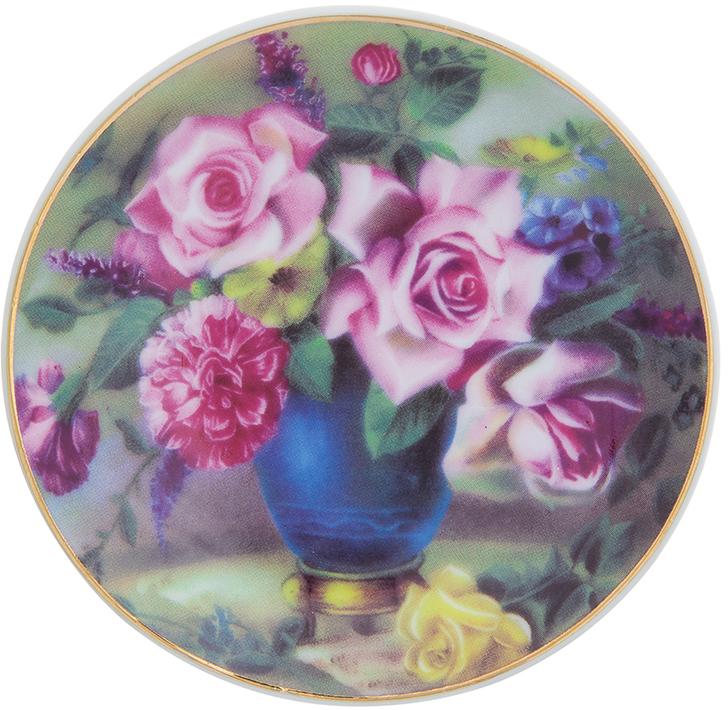 Тарелка декоративная Elan Gallery Букет в синей вазе, с подставкой, цвет: темно-зеленый, диаметр 10 см сувениры религиозные elan gallery тарелка декоративная пресвятая богородица владимирская